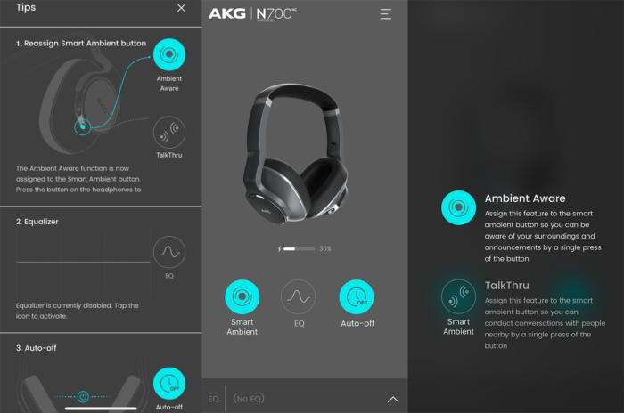 The AKG mobile app lets you control some of the headphone's key features.