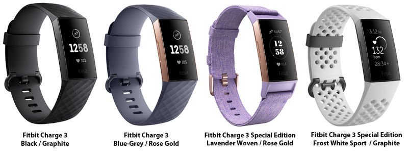 Fitbit Charge 3 models