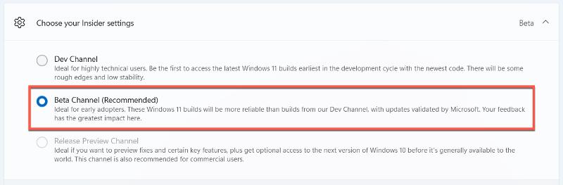 Windows 11 switch Insider channel