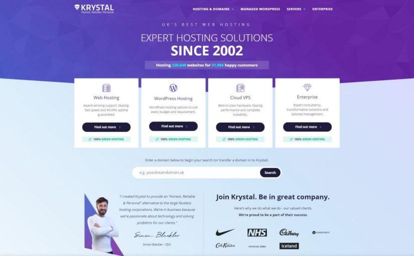 Krystal web hosting